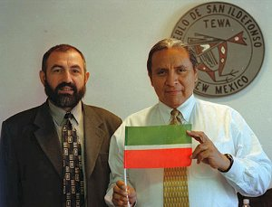 Irek Bikkinin, left, the author of this article, was chosen by the Tatar Internet
